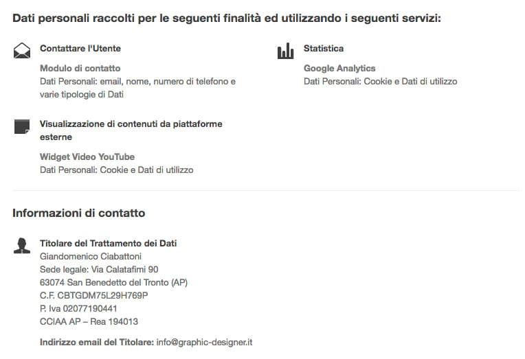 Informativa sulla Privacy Policy